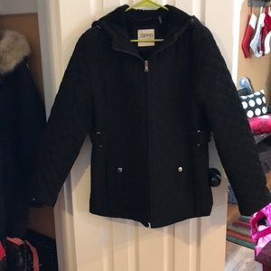 Black quilted coat! Size L!